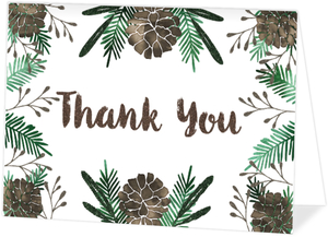 Glam Pinecone Christmas Thank You Card