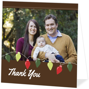 Festive Light Bulbs Holiday Thank You Card