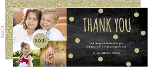 Chalkboard and Gold Glitter Holiday Thank You Cards
