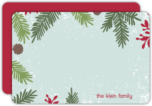 Festive Pine Needle Frame Holiday Thank You Card