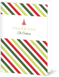 Colorful Stripes Holiday Thank You Card