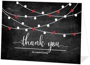 Red Streaming Lights Chalkboard Holiday Thank You Card