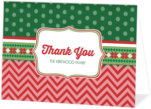 Mixed Patterns Ugly Sweater Holiday Thank You Card