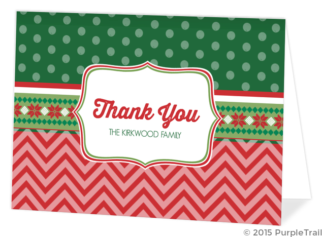 Christmas Thank You Cards.Mixed Patterns Ugly Sweater Holiday Thank You Card