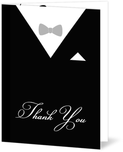 Black and White Classic Tuxedo Holiday Thank You Card
