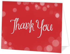 Red Bright Bubbly Bubbles Holiday Thank You Card