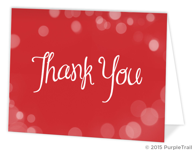 Christmas Thank You Cards.Red Bright Bubbly Bubbles Holiday Thank You Card