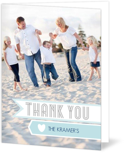 Blue Modern Banner Holiday Thank You Card