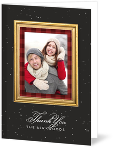 Red Plaid Gold Frame Christmas Thank You Card