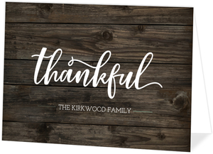 Grateful Thankful Blessed Woodgrain Holiday Thank You Card