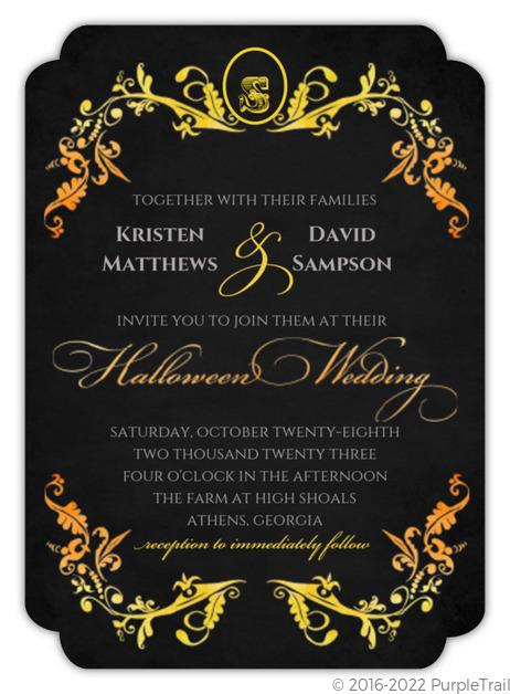 Watercolor Halloween Wedding Invitation Halloween Wedding Invitations
