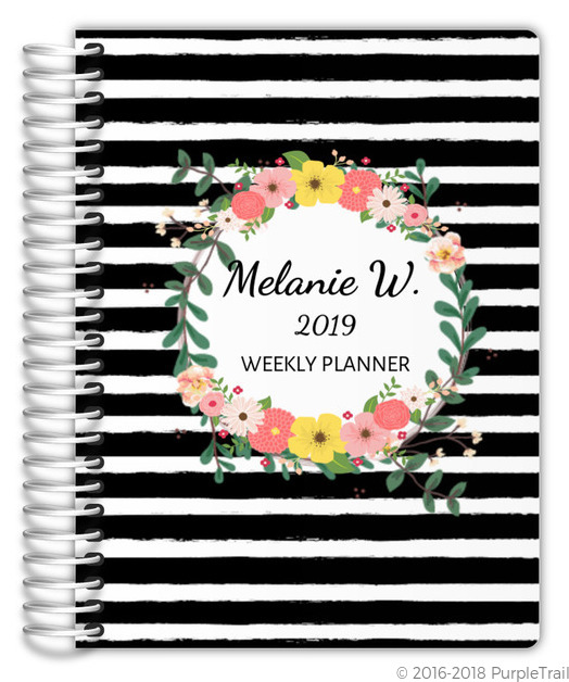 Black And White Stripes Floral Planner Weekly Planners