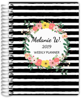 Black And White Stripes Floral Planner