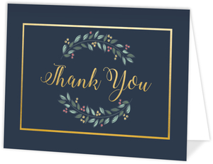 Gray Blue Gold Frame Holiday Thank You Card