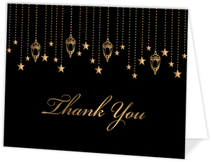 Golden Hanging Lights Quinceanera Thank You Card
