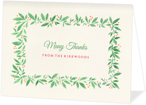 Watercolor Leaf Frame Holiday Thank You Card
