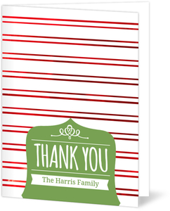 Whimsical Green First Noel Holiday Thank You Card