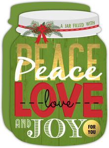 Peace Love Joy Jar Holiday Card