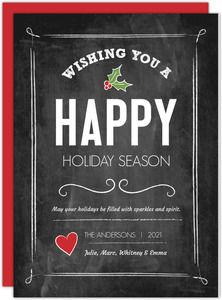 Black Chalk with Holly Holiday Wishes Holiday Cards