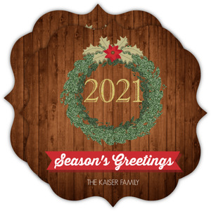 Decorative Green Wreath Holiday Card
