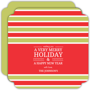 Red And Green Stripes Modern Holiday Card