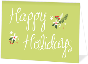 Green and Red Festive Flowers Holiday Card