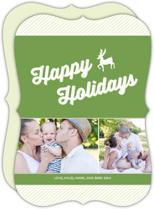 Green Ribbons And Reindeer Holiday Card