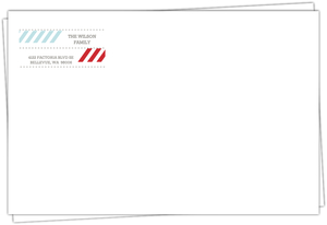 Modern Red And Blue Stripes Holiday Envelope