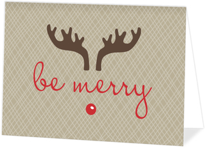 Taupe Reindeer Holiday Card