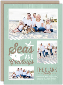 Aqua Beachy Holiday Card