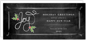 Holly Chalkboard Holiday Greeting Card