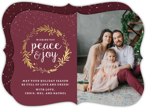 Peace and Joy Gold Foil Greenery Holiday Card