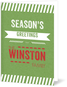 Green Stripes and Banner Holiday Card