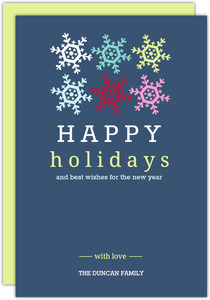 Happy Holidays Snowflakes on Blue Holiday Card