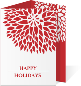 Red Elegant Mums Holiday Card