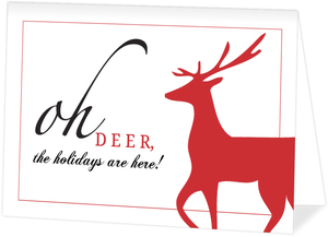 Oh Deer Red and White Holiday Card