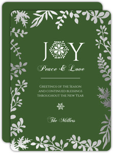 Joy To The World Green Formal Holiday Card