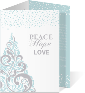Blue and Grey Elegant Snowy Tree Holiday Card