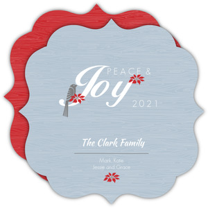 Wood Texture and Red Poinsetta Holiday Card