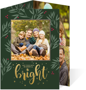 Gold Foil Merry & Bright Holiday Trifold