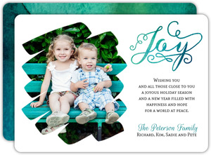 Elegant Bright Turquoise Watercolor Holiday Photo Card