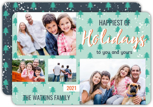 Whimsical Winter Trees Holiday Photo Card