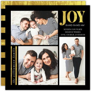 Beautiful Modern Gold and Black Holiday Photo Card
