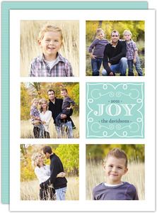 Blue Whimsical Frame Holiday Photo Card