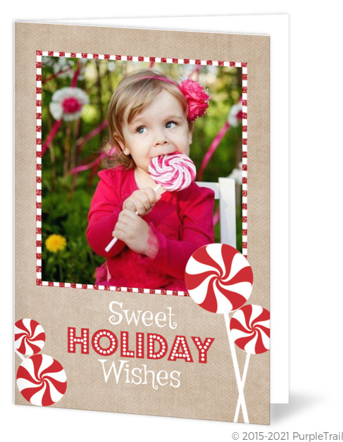 Sweet Red Peppermint Holiday Photo Card