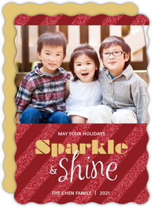 Red Diagonal Striped Glitter Holiday Photo Card
