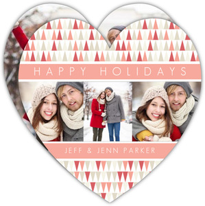 Coral and Red Modern Pattern Holiday Photo Card