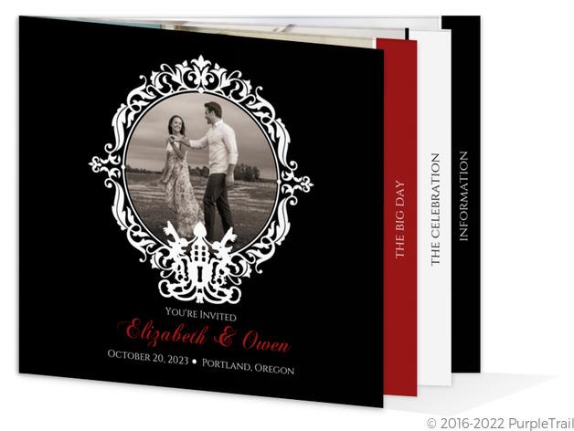 Black and White Skeleton Key Halloween Wedding Invitation