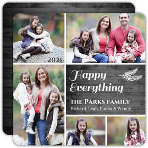 Wood Grain Pine Holiday Photo Card
