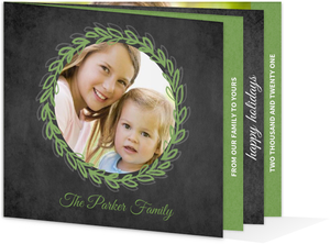 Green and Chalkboard  Holiday Photo Card